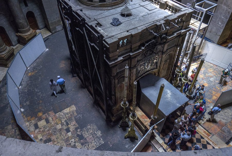 Reconstruction of Jesus Christ tomb in Church of the Holy Sepulchre in Jerusalem