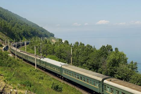 Russia, Siberia, Trans-siberian train on the banks of Baikal lake