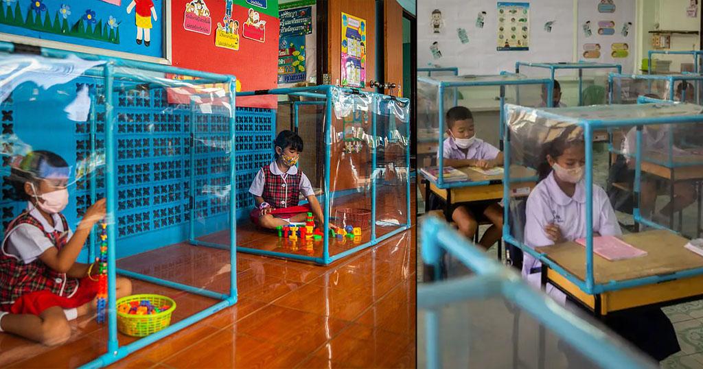 Ταϊλάνδη: Βάζουν τους μαθητές σε πλαστικά κουβούκλια για να προστατεύονται από τον κορωνοϊό