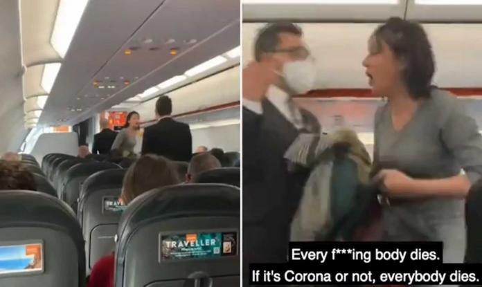 «Θα πεθάνουμε όλοι» αρνήτρια της μάσκας μέσα σε αεροπλάνο ούρλιαζε και έφτυνε (Video)